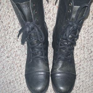 Steve Madden Black Leather Troopa Combat Boots